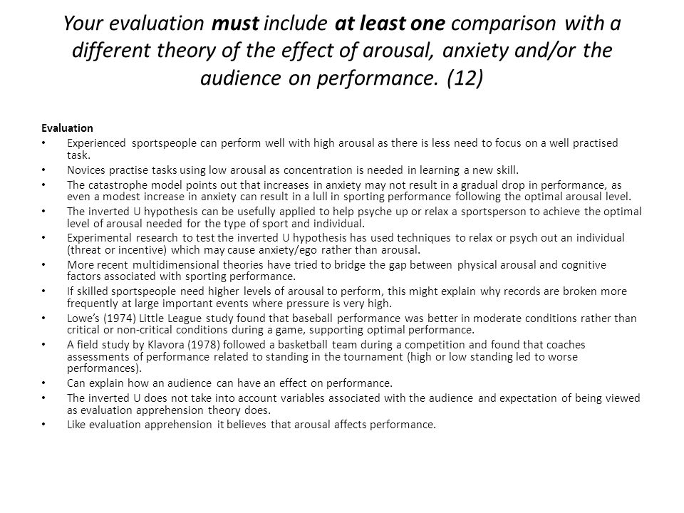 Your evaluation must include at least one comparison with a different theory of the effect of arousal, anxiety and/or the audience on performance. (12)