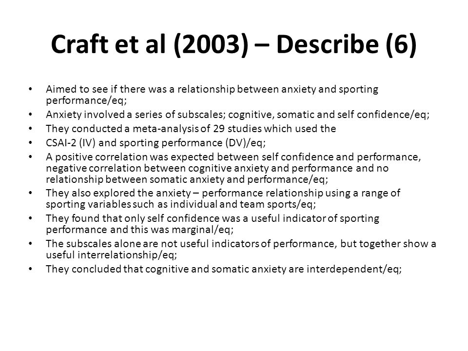 Craft et al (2003) – Describe (6)
