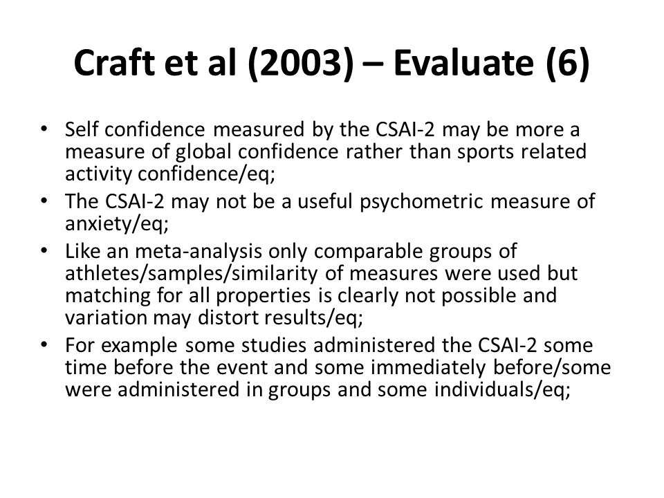 Craft et al (2003) – Evaluate (6)