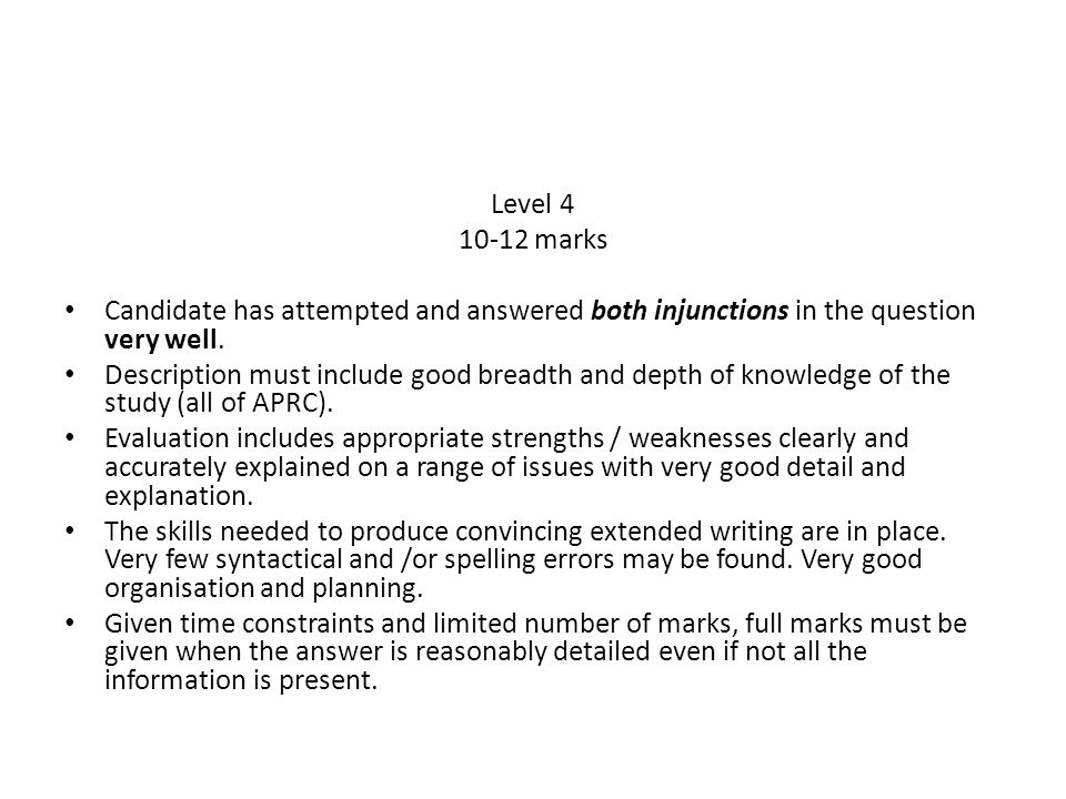 Level 4 10-12 marks. Candidate has attempted and answered both injunctions in the question very well.