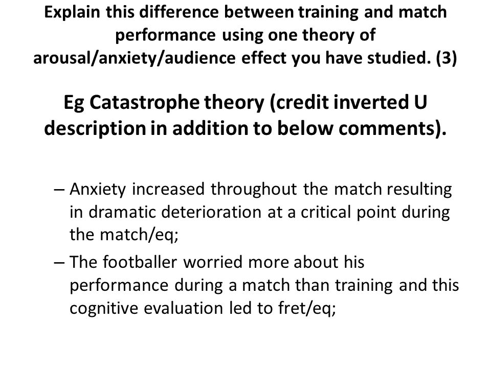 Explain this difference between training and match performance using one theory of arousal/anxiety/audience effect you have studied. (3)