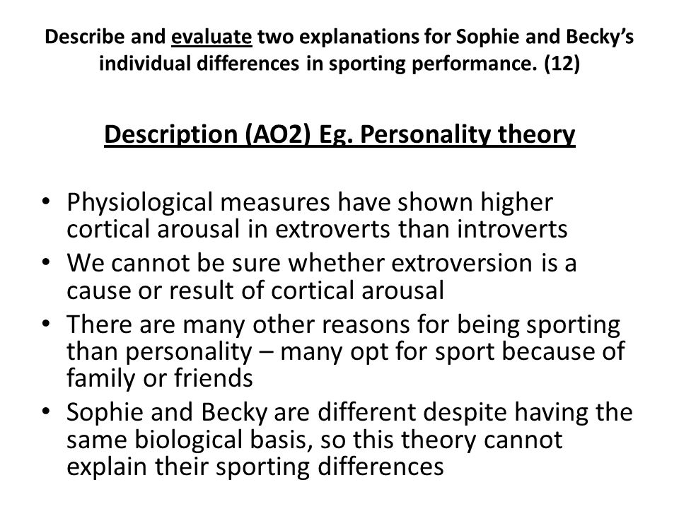 Description (AO2) Eg. Personality theory