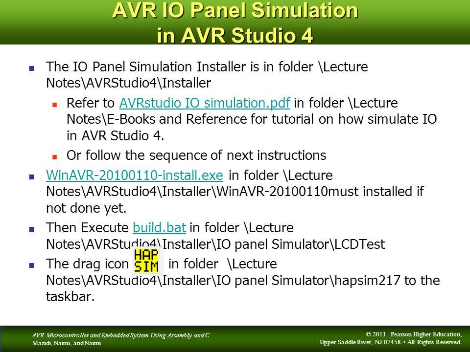 AVR IO Panel Simulation in AVR Studio 4