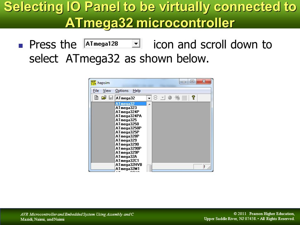 Selecting IO Panel to be virtually connected to ATmega32 microcontroller