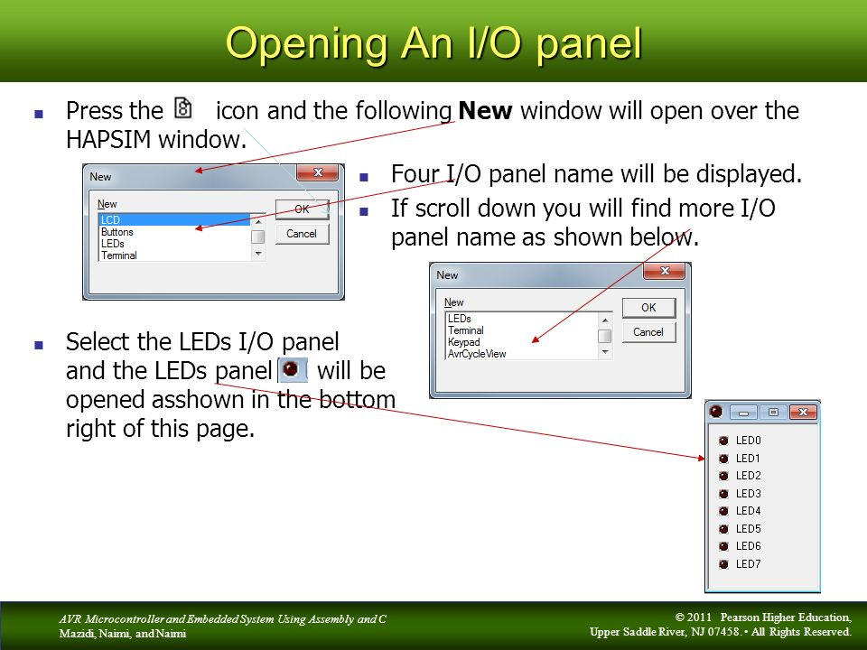 Opening An I/O panel Press the icon and the following New window will open over the HAPSIM window.