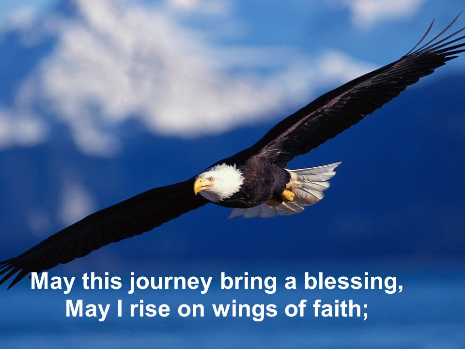 May this journey bring a blessing, May I rise on wings of faith;