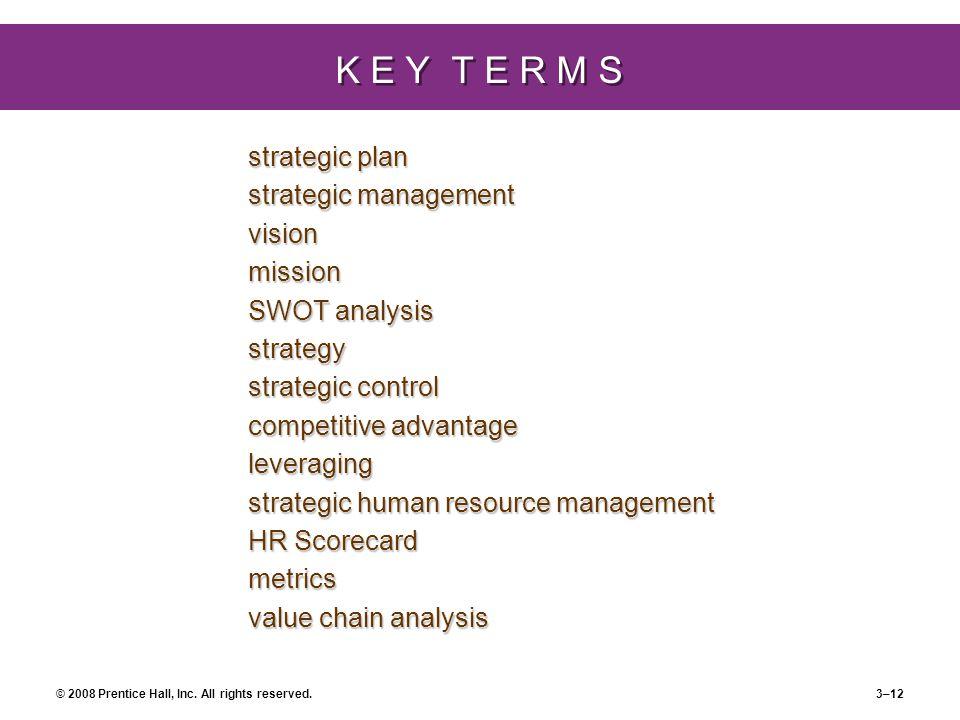 K E Y T E R M S strategic plan strategic management vision mission