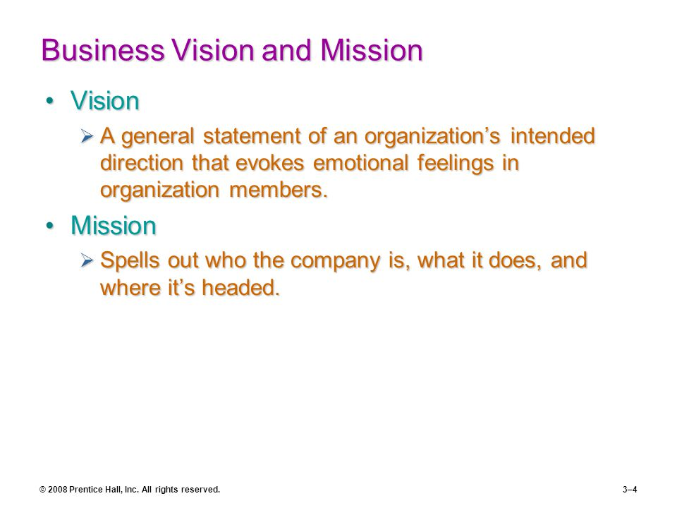 Business Vision and Mission