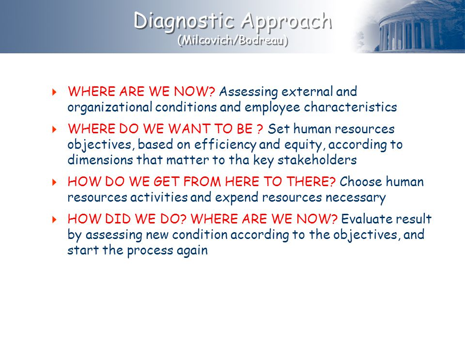 Diagnostic Approach (Milcovich/Bodreau) WHERE ARE WE NOW Assessing external and organizational conditions and employee characteristics.