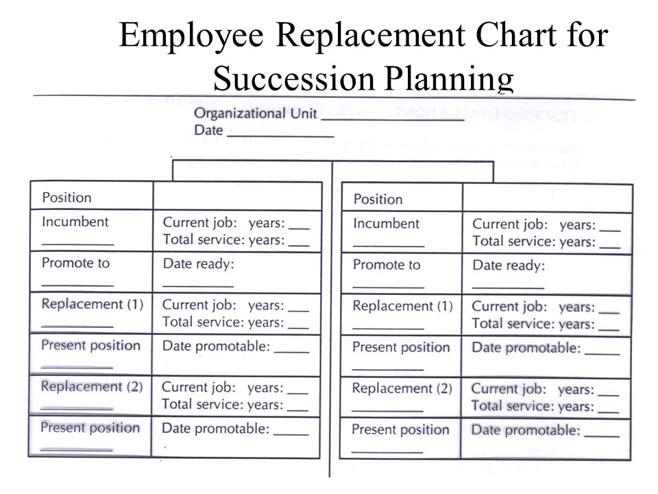 Employee Replacement Chart for Succession Planning