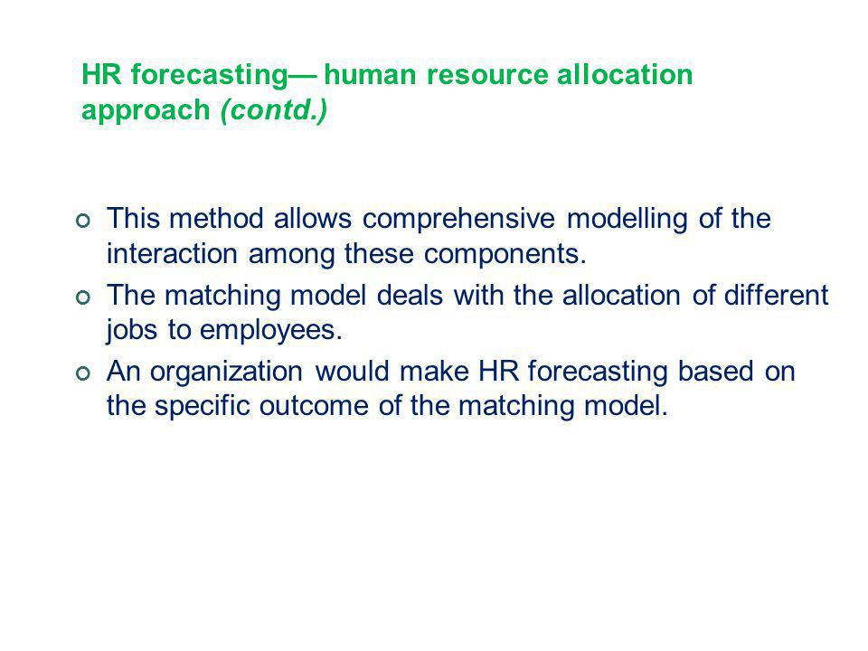 HR forecasting— human resource allocation approach (contd.)