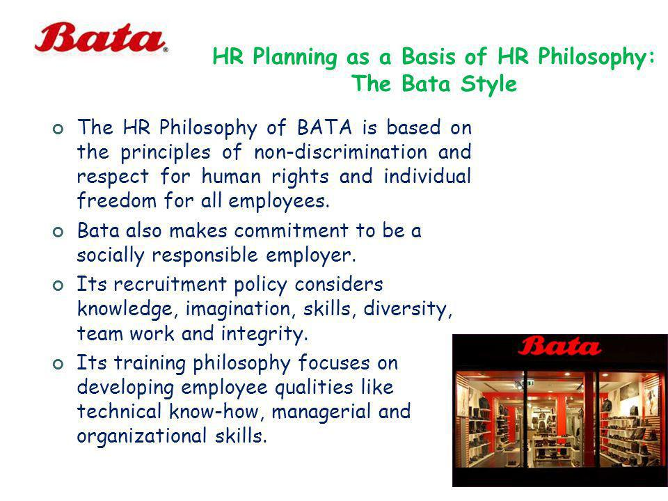 HR Planning as a Basis of HR Philosophy: The Bata Style