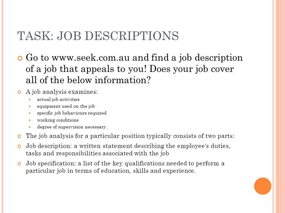 TASK: JOB DESCRIPTIONS