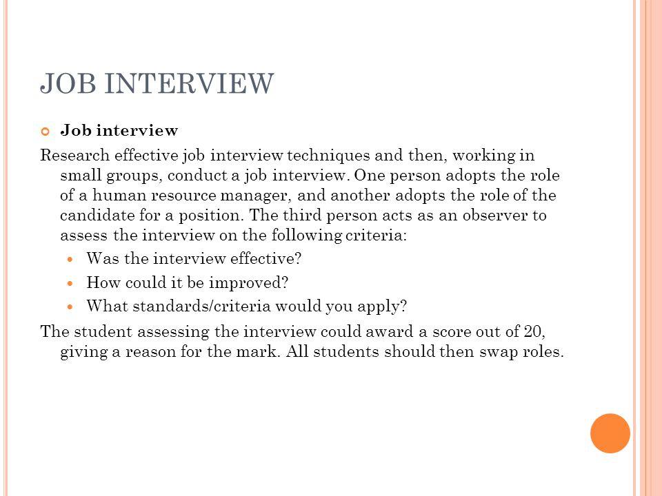 JOB INTERVIEW Job interview