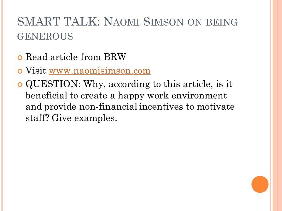 SMART TALK: Naomi Simson on being generous