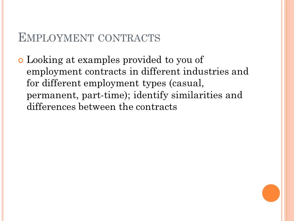 Employment Contracts. Continuity Employment Contract Sample
