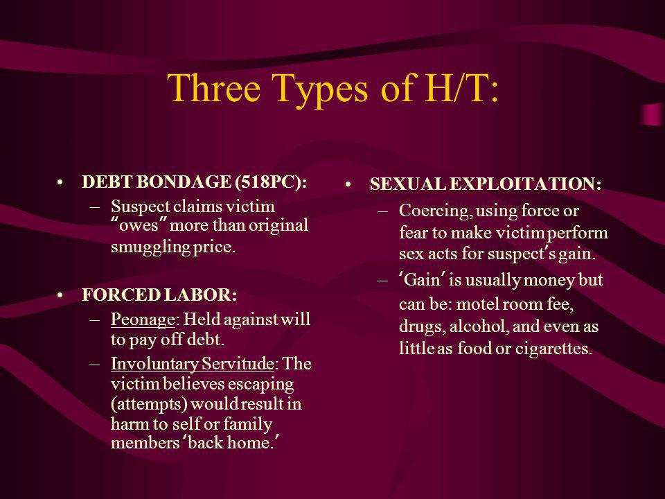 Three Types of H/T: DEBT BONDAGE (518PC):