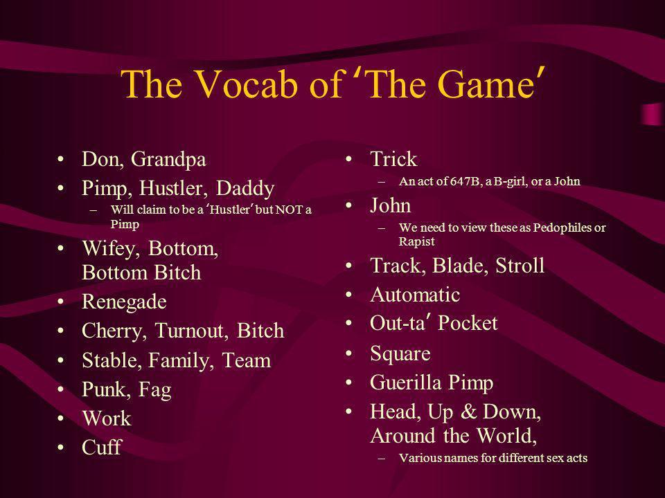The Vocab of 'The Game' Don, Grandpa Pimp, Hustler, Daddy