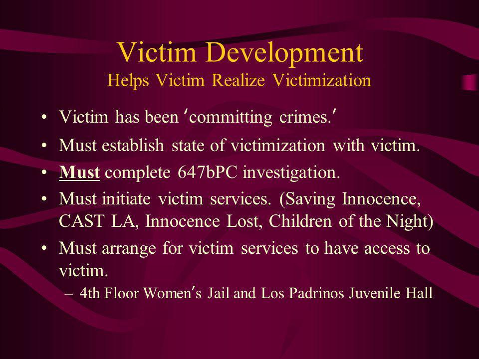 Victim Development Helps Victim Realize Victimization