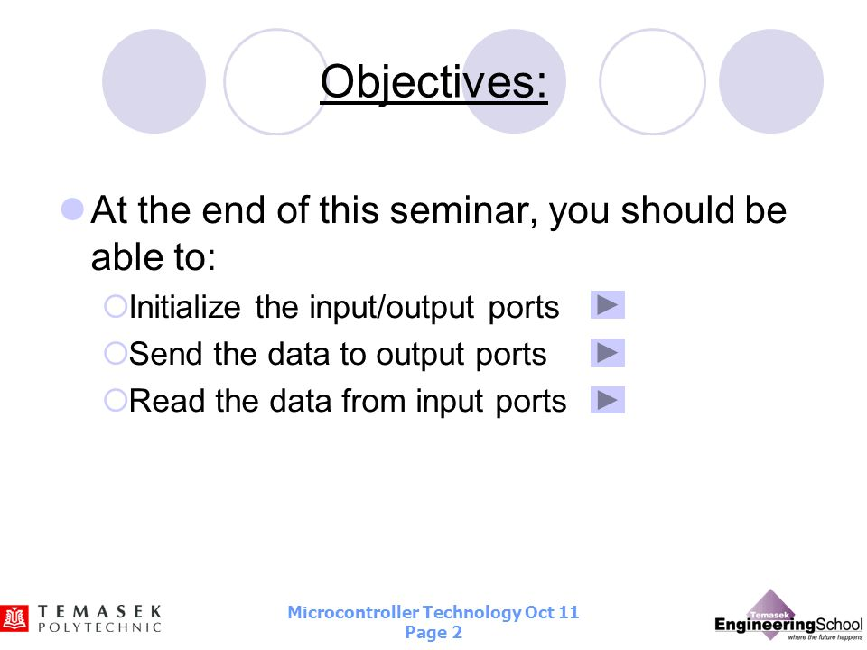 Objectives: At the end of this seminar, you should be able to: