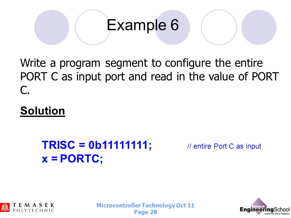 Example 6Write a program segment to configure the entire PORT C as input port and read in the value of PORT C.