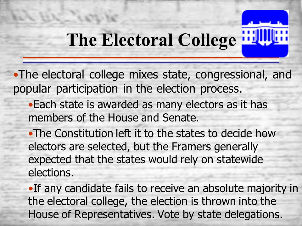 The Electoral College The electoral college mixes state, congressional, and popular participation in the election process.