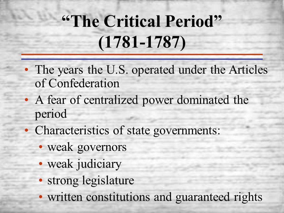 The Critical Period (1781-1787)