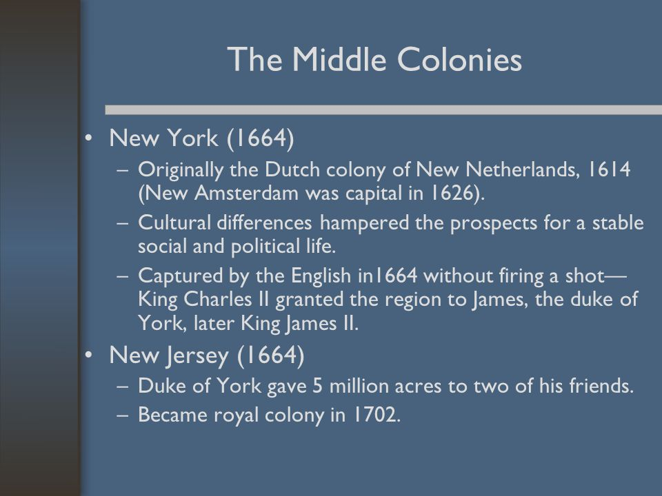 The Middle Colonies New York (1664) New Jersey (1664)