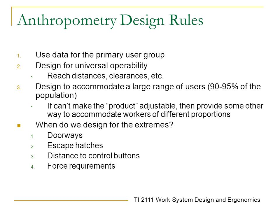 Anthropometry Design Rules