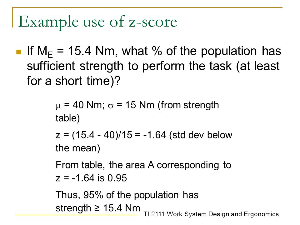Example use of z-score If ME = 15.4 Nm, what % of the population has sufficient strength to perform the task (at least for a short time)