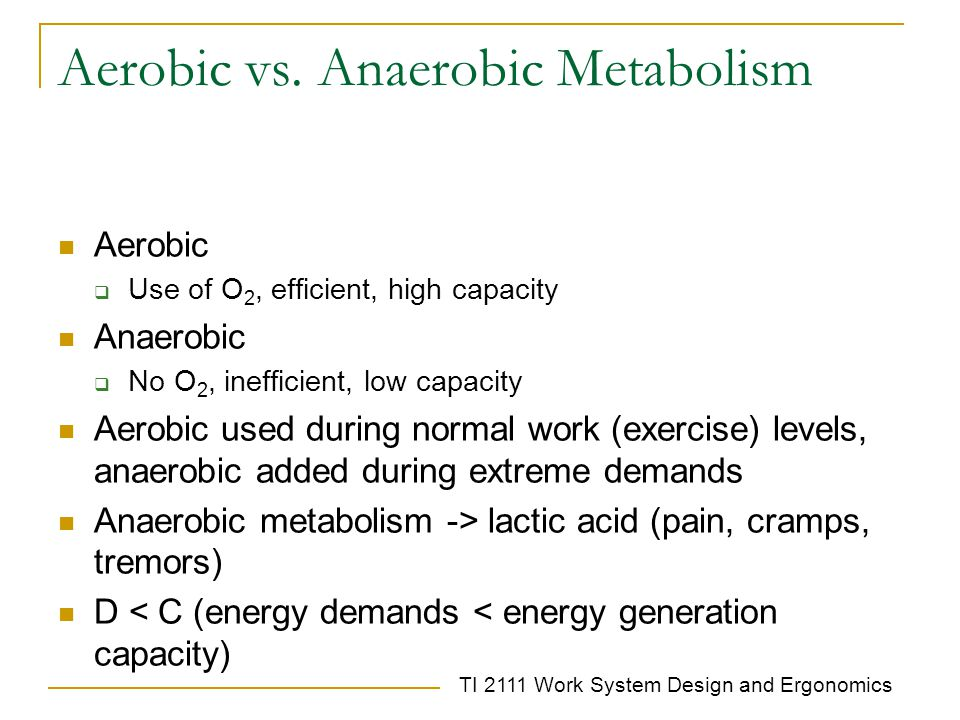 Aerobic vs. Anaerobic Metabolism