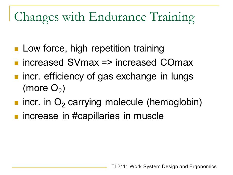 Changes with Endurance Training