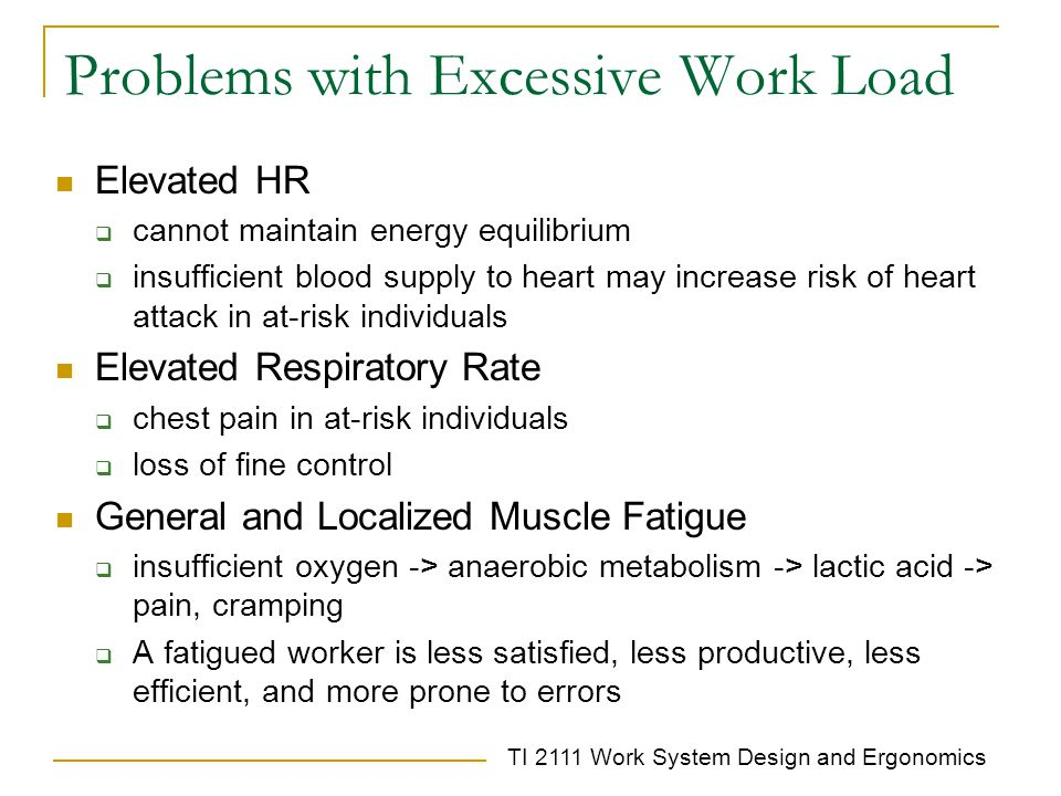 Problems with Excessive Work Load