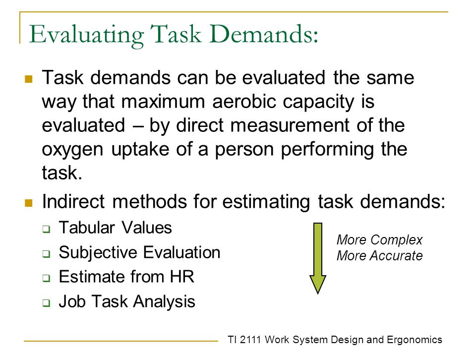 Evaluating Task Demands: