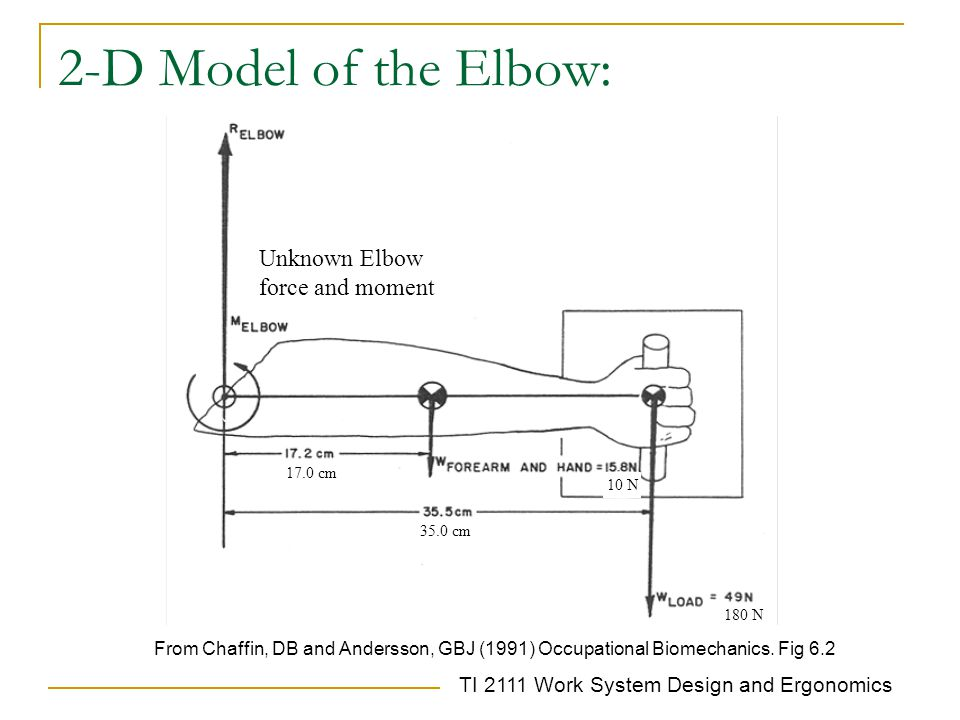 2-D Model of the Elbow: Unknown Elbow force and moment