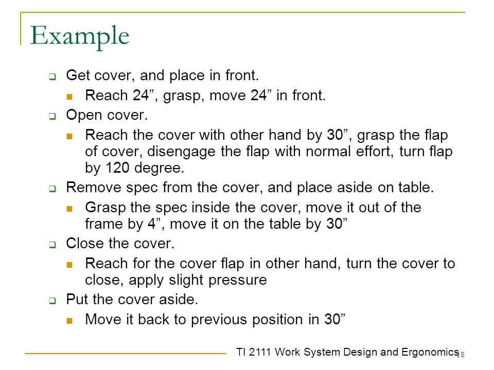Example Get cover, and place in front.