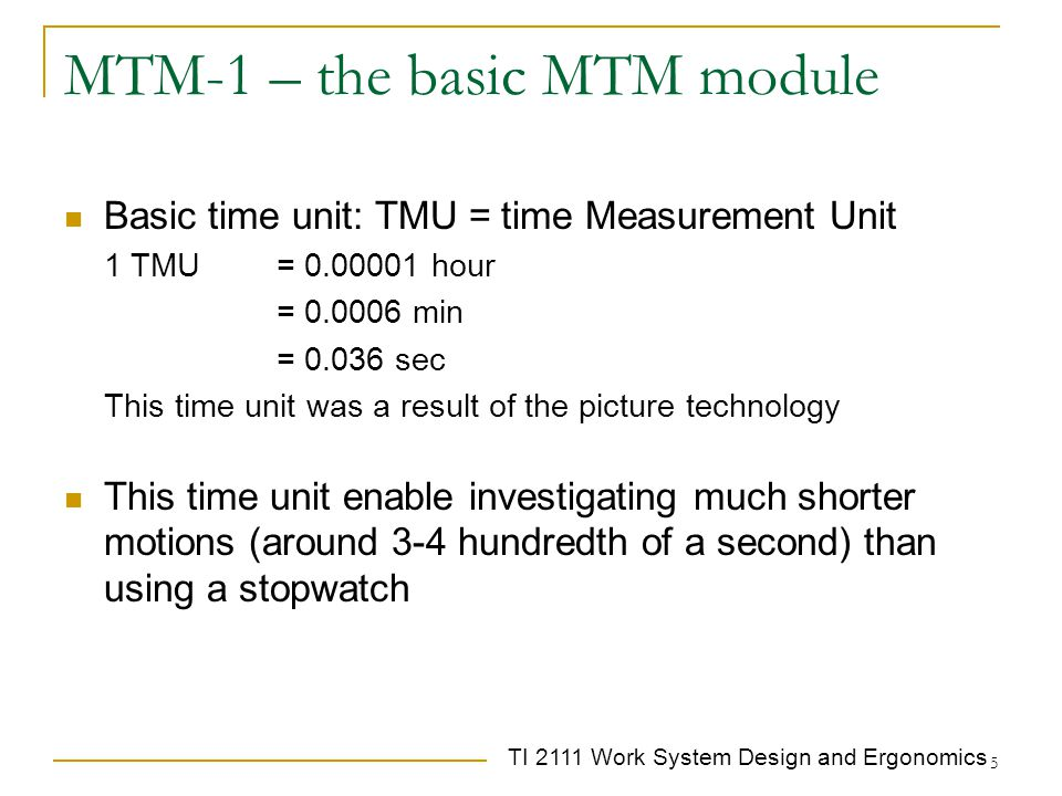 MTM-1 – the basic MTM module