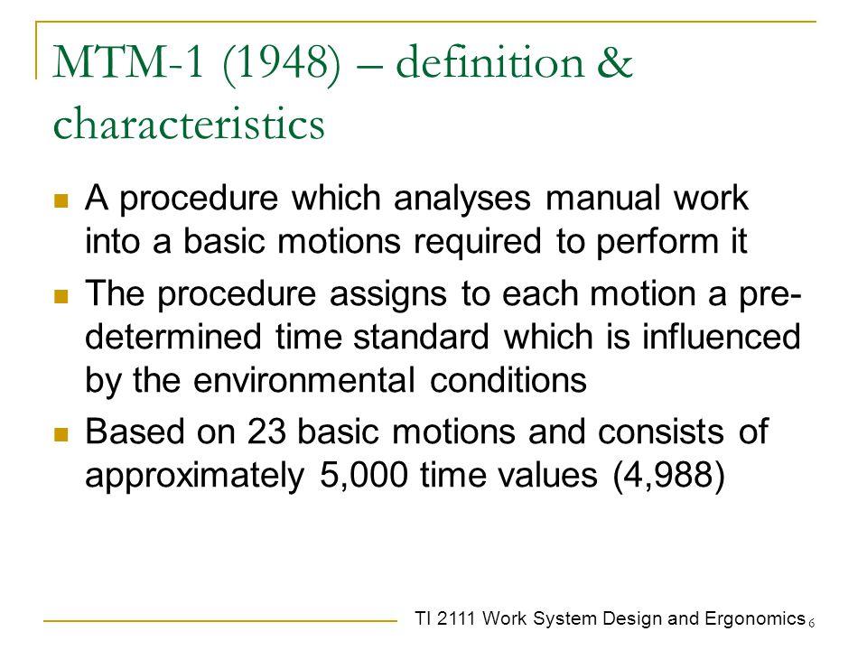 MTM-1 (1948) – definition & characteristics