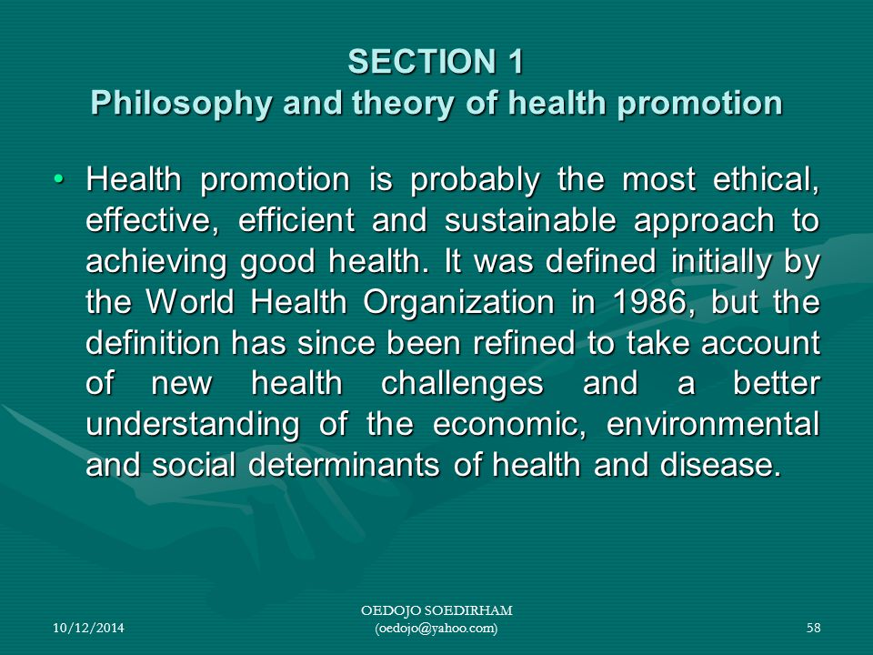 SECTION 1 Philosophy and theory of health promotion