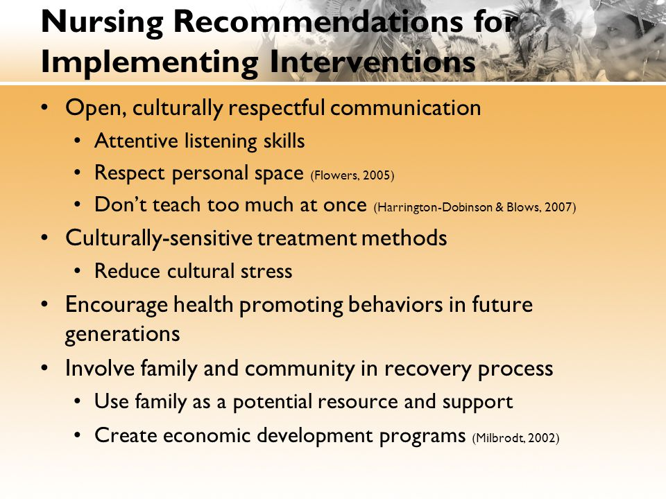 Nursing Recommendations for Implementing Interventions