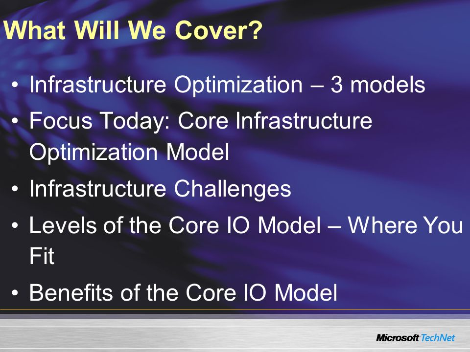 What Will We Cover Infrastructure Optimization – 3 models