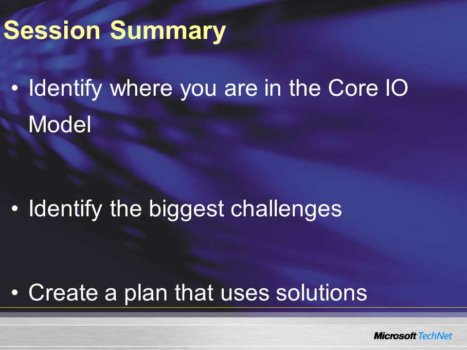 Session Summary Identify where you are in the Core IO Model