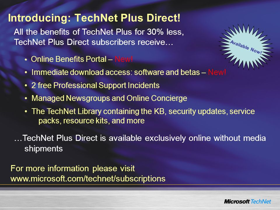 Introducing: TechNet Plus Direct!
