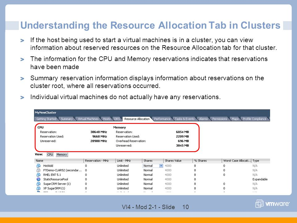 Understanding the Resource Allocation Tab in Clusters