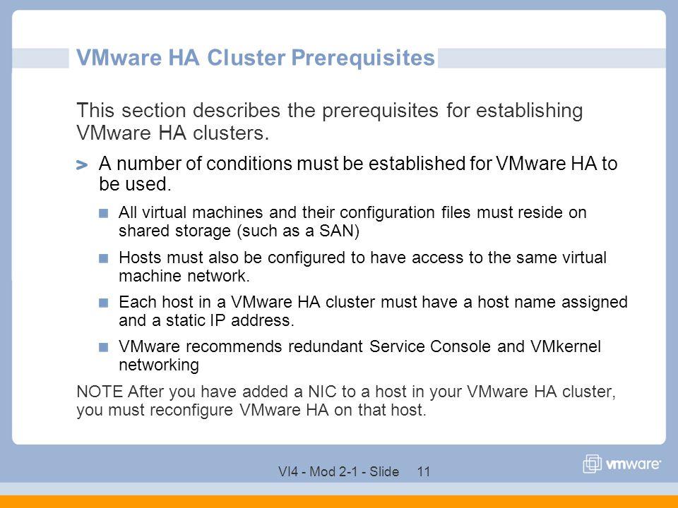 VMware HA Cluster Prerequisites