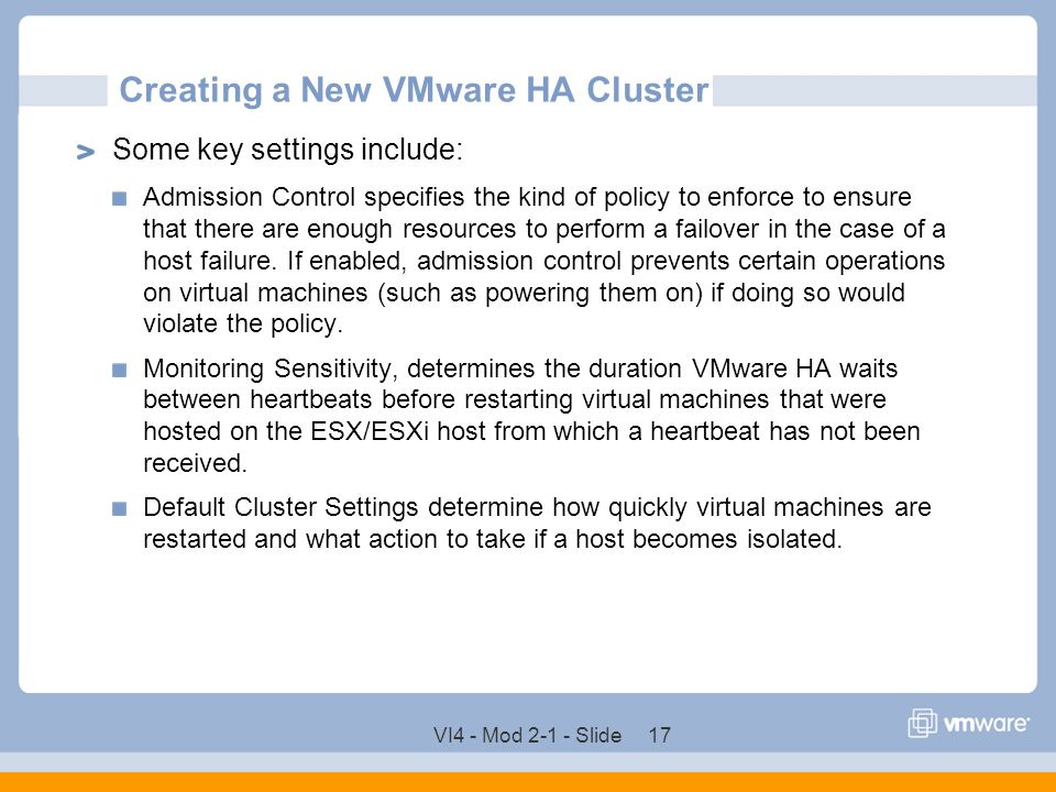 Creating a New VMware HA Cluster