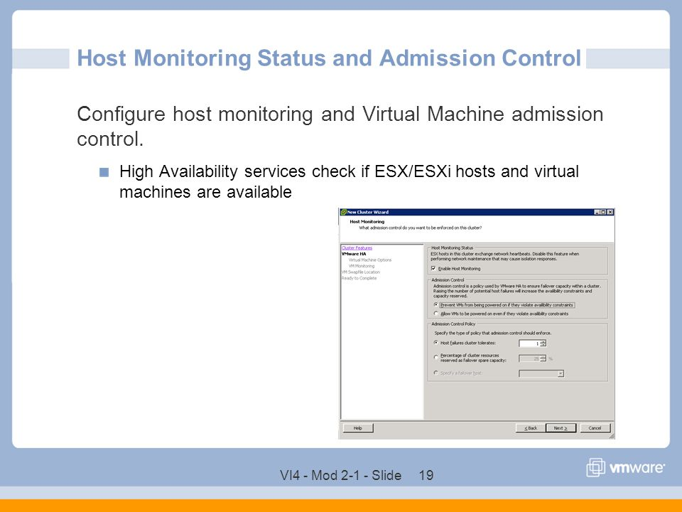 Host Monitoring Status and Admission Control