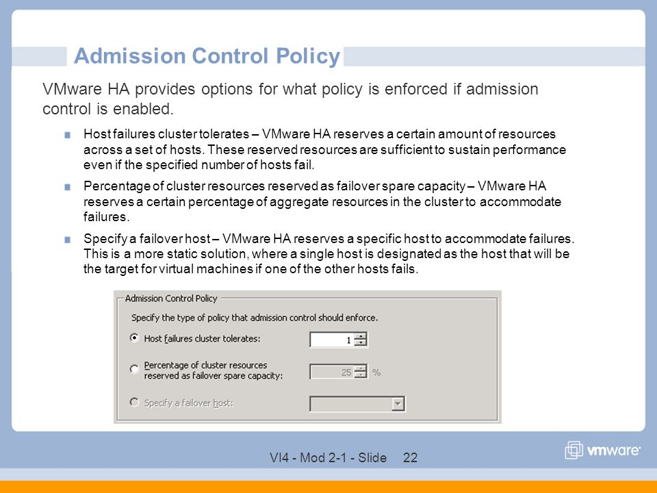Admission Control Policy