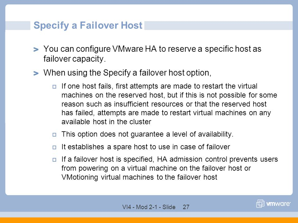 Specify a Failover Host