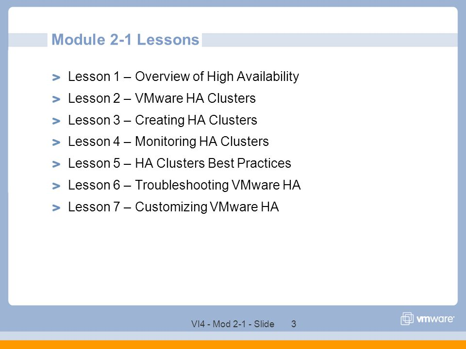 Module 2-1 Lessons Lesson 1 – Overview of High Availability
